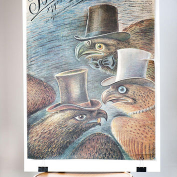 Authentic Soviet movie poster Gobseck. Based on novel Honoré deBalzac poster in Russian 1987. Drama movie poster birds. Gift movie lover
