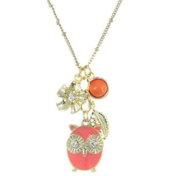 "Goldtone Peach Pink Owl Pendant Bead Flower Rhinestones Necklace and Earrings, 16+3"" (Peach Pink)"