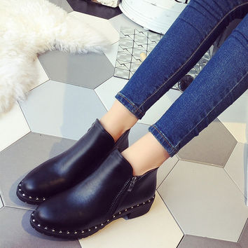 Hot Deal On Sale Zippers Shoes Autumn Metal Simple Design Boots [8865345740]