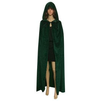 Women Cloak Velvet Hooded Cape Medieval Renaissance Costume Xmas Vampire Fancy Dress 7 Colors