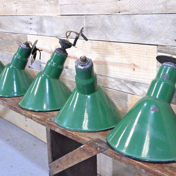 Original Porcelain Light Fixture, Service Station Light, Industrial Light Fixture