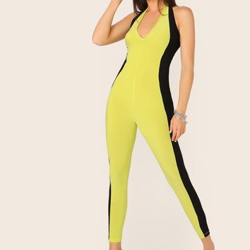 Two Tone Halterneck Unitard Jumpsuit