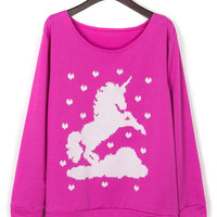 Hot Pink Horse Print Long Sleeve Sweatshirt