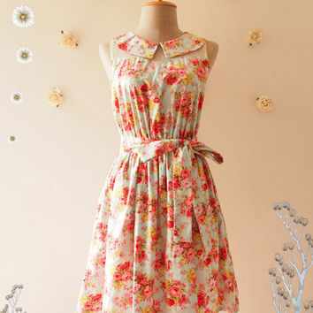 Floral Fancy :Pink Floral Dress Peter Pan Collar Blue Illusion Dress Tea Party Dress Floral Summer Dress Floral Bridesmaid Dress -Size S,M,L