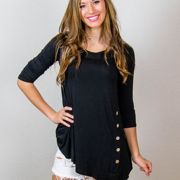 All About Those Buttons Tunic - Black