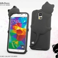 """""""Hello Deere"""" Lovely 3D Cat Cartoon Soft Shell Case with Earphone Jack Dust Cover for Samsung Galaxy i9600 S5 - (Black HD-DFM-S5-3)"""