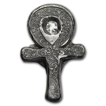 1 oz Hand-Poured Silver - Egyptian Ankh Cross