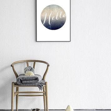 "Watercolor Background Geometric Art ""Hello"". Blue grey Nordic Design Print 24x36"" 50x70 A4"