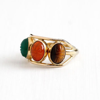 Vintage 12k Rosy Yellow Gold Filled Scarab Ring - Retro 1960s Size 6 Adjustable Tiger's Eye Carnelian Beetle Gem Egyptian Revival Jewelry