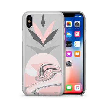 Marble Pineapple Head - Clear Case Cover