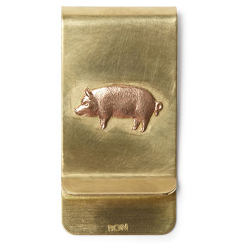 Brass Money Clip, Pig, Wallets
