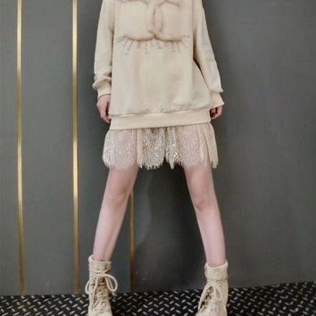 DCCKH3L Chanel' Women Temperament Casual Fashion Sequin Letter Lace Stitching Long Sleeve Sweater Dress