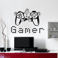 Wall Decal Vinyl Sticker Decals Art Home Decor Design Murals Game Controllers Gamer Gaming Video Game Boy Room Nursery Bedroom Dorm AN758