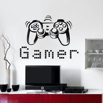 Wall Decal Vinyl Sticker Decals Art Home Decor Design Murals Game  Controllers Gamer Gaming Video Game