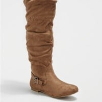 Taupe Sweater Lined Faux Suede Boot by Wild Diva®