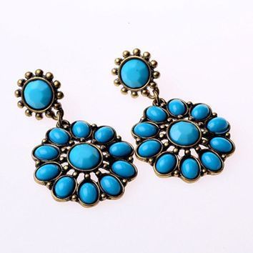 ES717 Fashion Korea Imitation Gemstone Earrings Multicolor Sunflowers Jewelry Crystal Rings for women