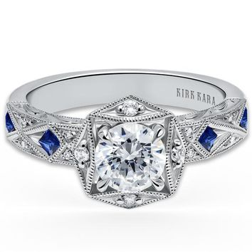 "Kirk Kara ""Charlotte"" Hexagon Halo Princess Cut Blue Sapphire Engagement Ring"