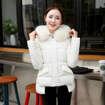 2016New Winter Cotton Jacket Coat For Female Thick Fur Collar Coat Long 1950s Thick Warm Down Overcoat Parka Womens Clothing
