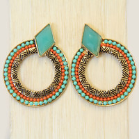 Naima Aqua Blue Stone Earrings