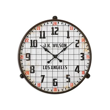 Uttermost Max Large Wall Clock - White Dial - Rust Brown Metal Frame