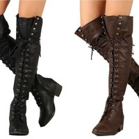 Breckelles Alabama 12 Thigh High Military Style Lace Up Boots   shoes heels high heel shoes trendy shoes stilettos