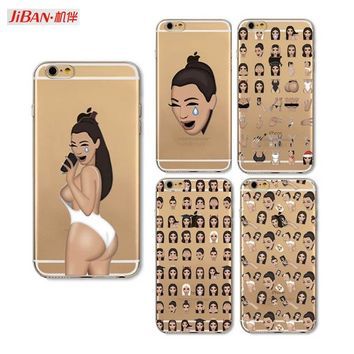 JIBAN Funny Kim Kardashian Crying Face Emoji Case For iphone 7plus 6 6plus 6sPlus 5s 8 Kimoji Soft Clear TPU Mobile Phone Shell