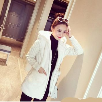 Winter Women Cloth Cotton Blend Coat Slim Fashion Knit Stitching Plush Thickened with Hat Cute Girl Coats Jackets