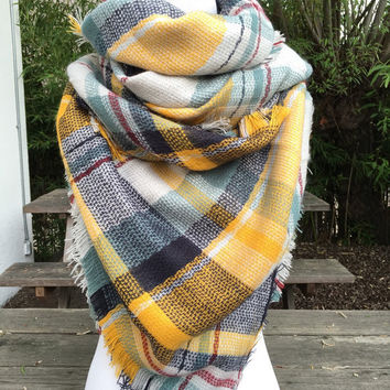 Tartan Blanket Scarf, Yellow Tartan Blanket Scarf, Zara Inspired Blue and yellow Blanket Scarf, Blanket Scarf, yellow Plaid Blanket Scarves