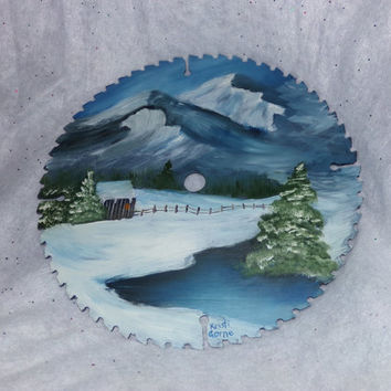 Vintage Original ART- Hand Painted Saw Blade with a Winter Scene. Home Decor, man cave decor, business decor, gift for him