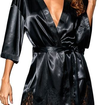 Luxurious Black Satin Robe Nightwear