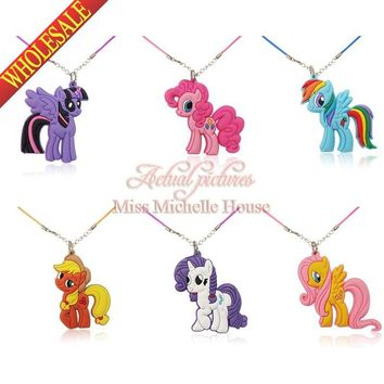 1PCS My Little Ponies Cartoon Chains Pendant Necklaces Rope Chain Chokers Necklace Kids Party Gifts