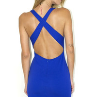 Cross Back Bodycon Mini Dress - Royal Blue