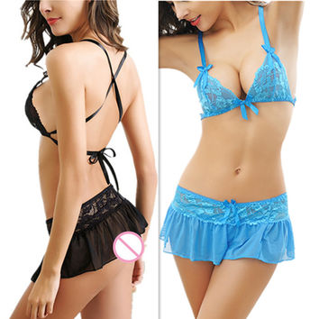 Bra Brief Sets sexy intimates women lace black blue red Bra + Brief + Skirt sets hot underwear sex lingerie