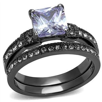 WildKlass Stainless Steel Ring IP Light Black (IP Gun) Women AAA Grade CZ Light Amethyst