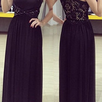 Black Sleeveless Maxi Dress with Rhinestone