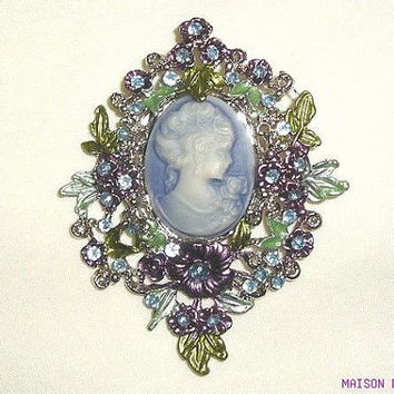 Vintage WEDGWOOD Jasper Floral Guilloche Blue Purple Green Large BROOCH Pin - Downton Abbey Victorian Brooch Aquamarine Stones