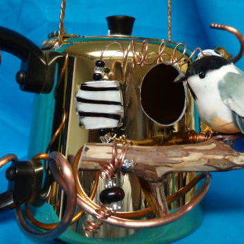 Whimsical Recycled Gold Colored Aluminum Teapot Birdhouse-BH047