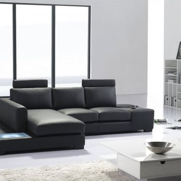 Divani Casa T35 Mini - Modern Bonded Leather Sectional Sofa with Light