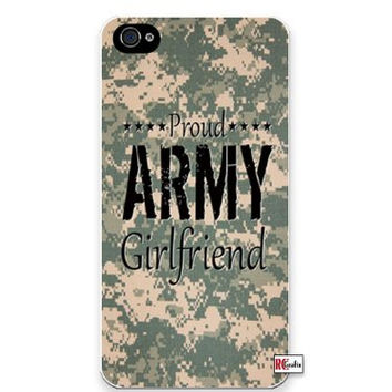 Proud Army Girlfriend United States USA Camo iPhone 4 Quality Hard Snap On Case for iPhone 4 4S 4G - AT&T Sprint Verizon - White Case Cover