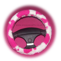 Faux fur Pink and white Cow print fuzzy car steering wheel cover furry and fluffy
