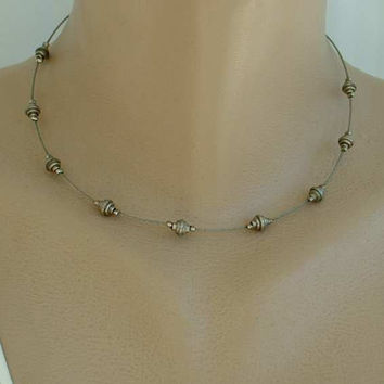 Wire Unisex Necklace Geometric Art Deco Shaped Cylinders Vintage Jewelry