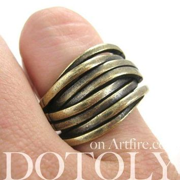 Unique Abstract Wavy Woven Spoon Ring in Brass | DOTOLY
