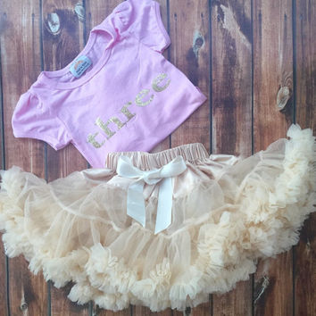 Birthday Ivory chiffon pettiskirt set three year old, 3, petti skirt,holiday, Birthday, baby, chiffon girls skirt, toddler, baby, fluffy