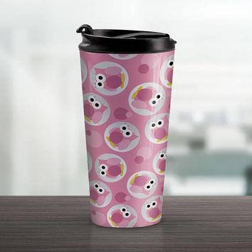 Pink Owl Travel Mug - Funny Cute Pink Owl Pattern - 15oz Stainless Steel - Made to Order
