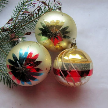 3 Glass Flocked Ornaments Made in Germany / Vintage Glass Christmas Ornaments