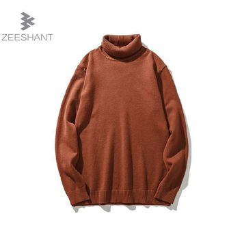 High-grade New 2017 Autumn Winter Youth Turtleneck Sweater Men Knitted Sweater High Elastic Mens Sweaters Pullovers XXL