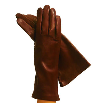 Brown Women's Italian Kidskin Leather Gloves, Cashmere Lined (NSP)