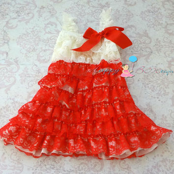 Baby Valentine's dress, Ivory Red Lace Dress,baby girls dress,ruffle dress,baby dress,Birthday outfit,flower girl dress, Valentines, Toddler