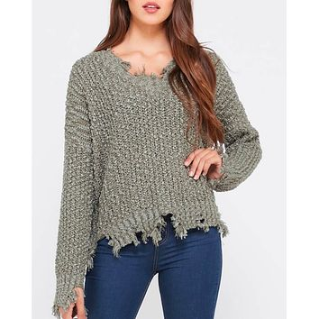 Distressed Hem Popcorn Yarn Knit V-Neck Sweater - Olive