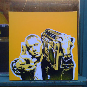 Eminem stencil art painting on 24 by 24 inch canvas,hip hop,rap,detroit,8 mile,music,urban,pop,portrait,yellow,white,black,ghetto blaster